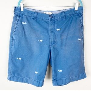 J. Crew men whale embroidered blue shorts 36